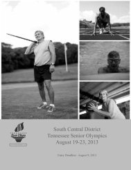 South Central District Tennessee Senior Olympics August 19-23, 2013