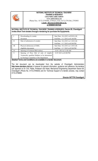 e-TENDER NOTICE invites Short Term tenders through e-tendering