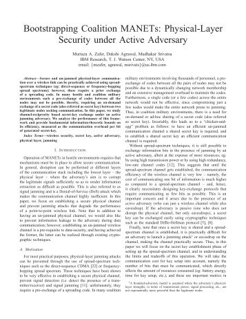 Physical-Layer Security under Active Adversary - ITACS ...