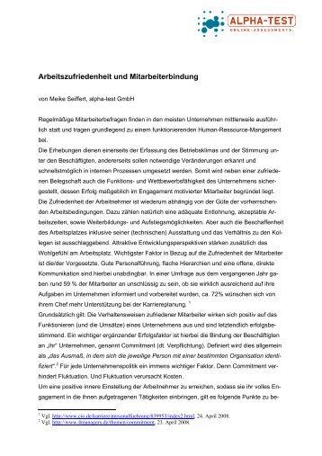 Arbeitszufriedenheit und Mitarbeiterbindung - alpha-test GmbH