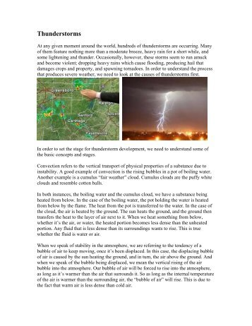 Thunderstorms Reading Assignment Handout