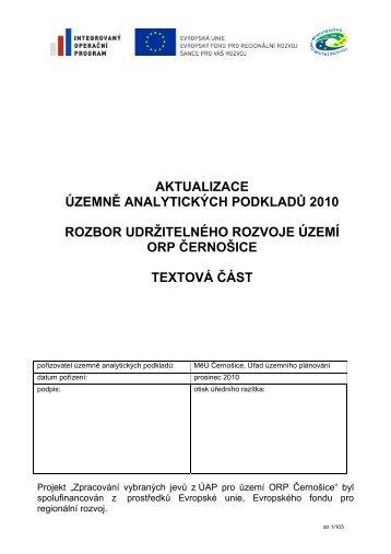 aktualizace územně analytických podkladů 2010 rozbor ...