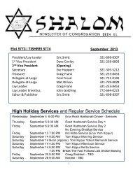 September 2013 - Congregation Beth El-Melbourne, FL