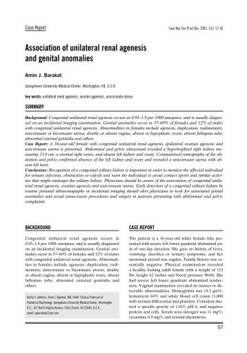 Association of unilateral renal agenesis and genital anomalies