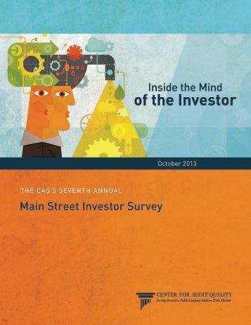 2013 Main Street Investor Survey - Center for Audit Quality