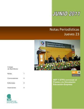 Notas Periodísticas Jueves 23 - intranet colegio de bachilleres