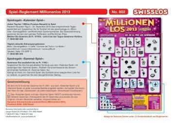 Spiel-Reglement Millionenlos 2013 No. 802 - Swisslos