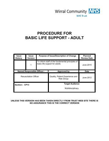 procedure for basic life support - adult - Wirral Community NHS Trust