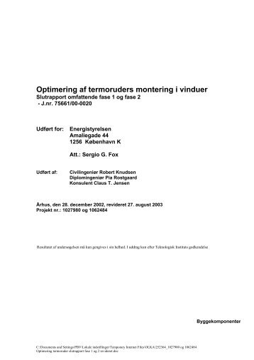 Optimering af termoruders montering i vinduer - Robert Knudsen ...