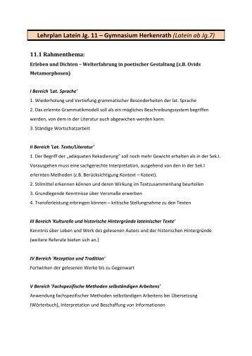 Lehrplan Latein Jg. 11 - Gymnasium Herkenrath