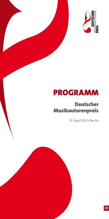 Programmheft 2013 - Deutscher Musikautorenpreis