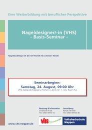 Nageldesigner/-in (VHS) - Basis-Seminar - - Volkshochschule Meppen