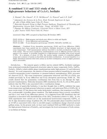 A combined XAS and XRD study of the high-pressure ... - James Badro