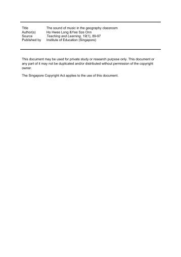 Title The sound of music in the geography classroom Author(s) Ho ...