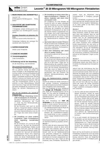 Levomin 20 20 Mikrogramm/100 Mikrogramm Filmtabletten - zfid