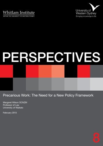 Precarious Work: The Need for a New Policy ... - Whitlam Institute