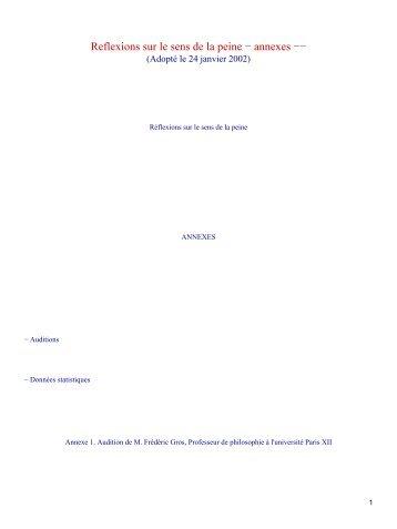Reflexions sur le sens de la peine − annexes −−