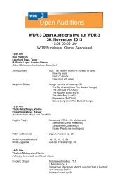 WDR 3 Open Auditions live auf WDR 3 30. November 2013