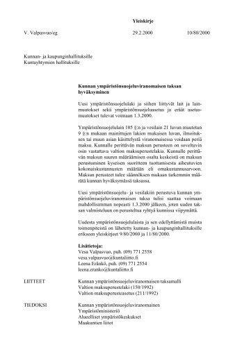 Kunnan ympäristönsuojeluviranomaisen taksan ... - Kunnat.net