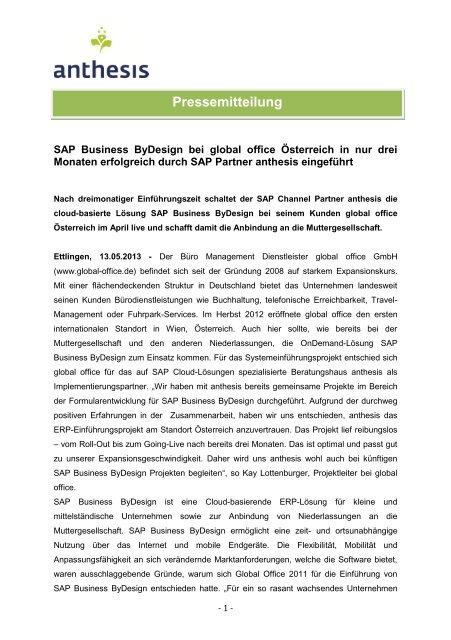 SAP Business ByDesign bei global office Österreich in nur ... - anthesis