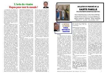 L'avis du vicaire Repos pour tout le monde ! - La Porte Latine