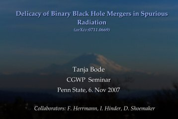 Delicacy of Binary Black Hole Mergers in Spurious Radiation Tanja ...