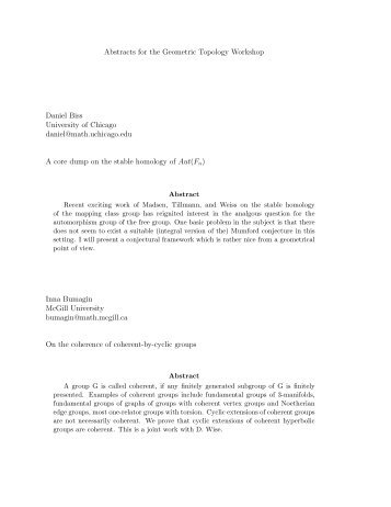 Abstracts for the Geometric Topology Workshop Daniel Biss ...