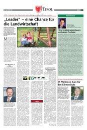 """""""Leader"""" – eine Chance für die Landwirtschaft - Tiroler Bauernbund"""