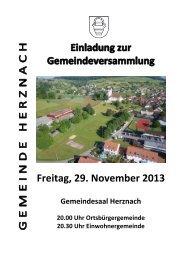 Einladung zur Gemeindeversammlung vom 29. November 2013