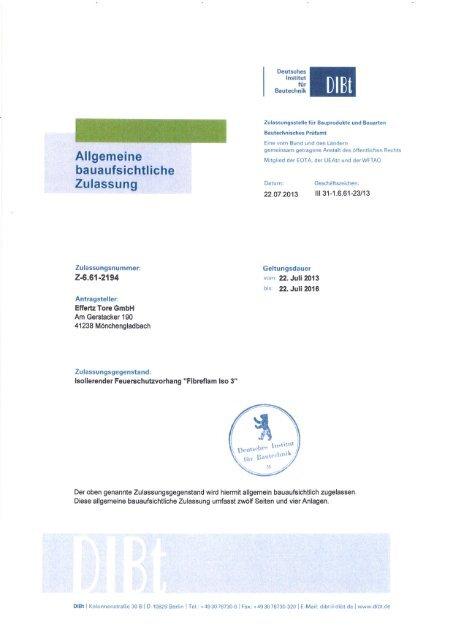 Effertz Iso 3 Dibt Zulassung