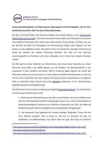 1 Analyse der Mediendebatte zur Platzierung von Jakob Augstein ...