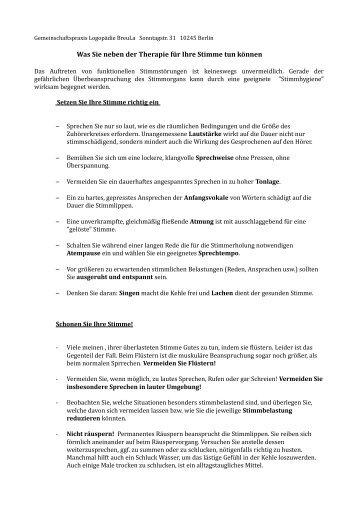 Informationen zur Stimmhygiene - Logopädie BreuLa