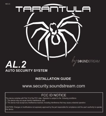 Installation Manual - Tarantula Security - Soundstream