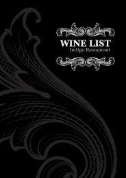 Wine List - Indigo Restaurant