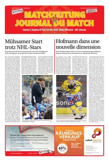 Heute Aujourd'hui 19.45: EHC Biel/Bienne - HC ... - Journal du Jura