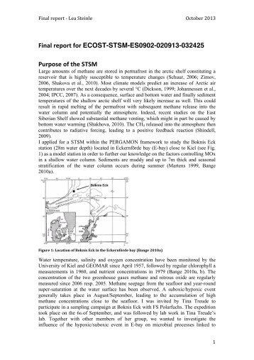 STSM Report Eckernförde Bucht - cost pergamon