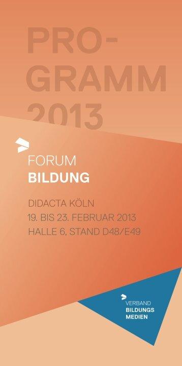 Programm Forum Bildung - Didacta