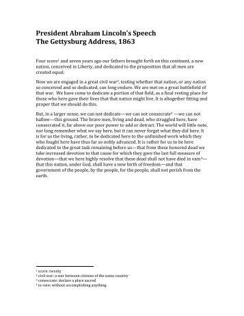 Analyzing seminal texts the gettysburg address
