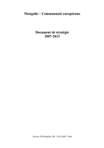 Mongolie - Communauté européenne Document de stratégie 2007 ...