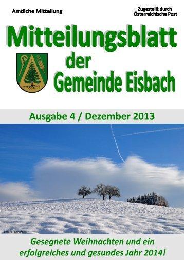 Mitteilungsblatt Ausgabe 4 ~ Dezember 2013.pdf - Gemeinde Eisbach