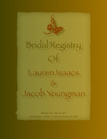 Bridal Registry Of Lauren Isaacs Jacob Youngman - La Bella Vita