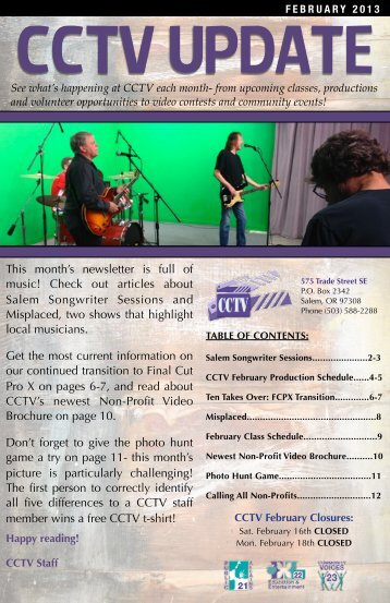 FEBRUARY 13 NEWSLETTER - Capital Community Television