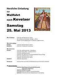 nach Kevelaer Samstag 25. Mai 2013 - Katholische Pfarrgemeinde ...