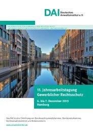 11. Jahresarbeitstagung Gewerblicher Rechtsschutz - Deutsches ...
