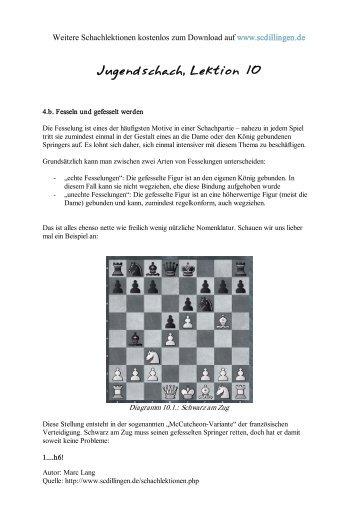 Jugendschach - Kompletter Schachkurs für Jugendliche, Lektion 10