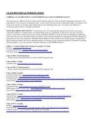 CLASS REUNION & WEBSITE LINKS! - cordova high school alumni ...