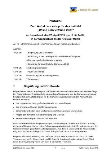 Protokoll zum Workshop vom 27.04.2013