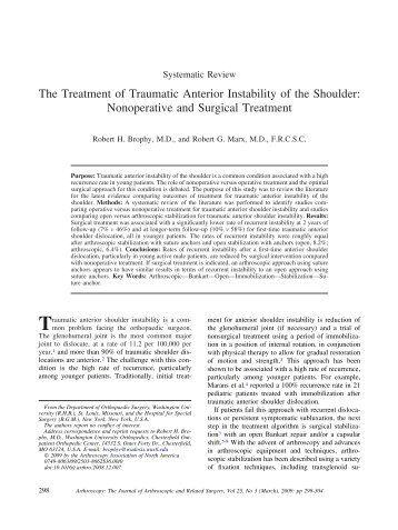 The Treatment of Traumatic Anterior Instability of ... - Robert G. Marx