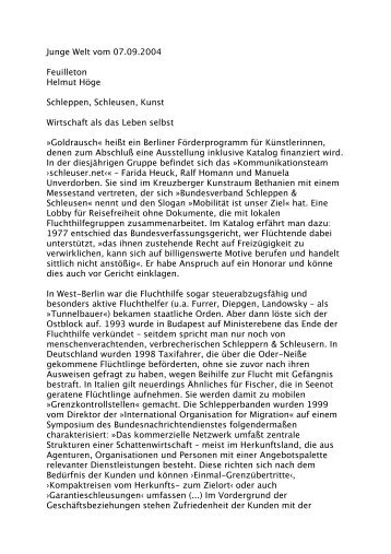 Junge Welt vom 07.09.2004 Feuilleton Helmut Höge ... - Farida Heuck