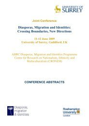 Diasporas, Migration and Identities - University of Surrey